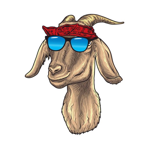 Goat with Sunglasses and Bandana