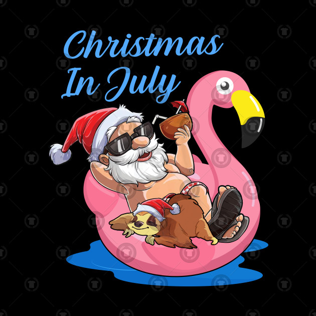 Christmas In July Santa Clipart.Cute Lazy Sloth On Flamingo Float Christmas In July Santa By Hussam4design