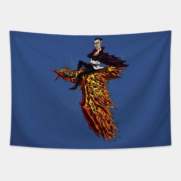 Vampire Riding Fire Phoenix Bird Scary Fantasy