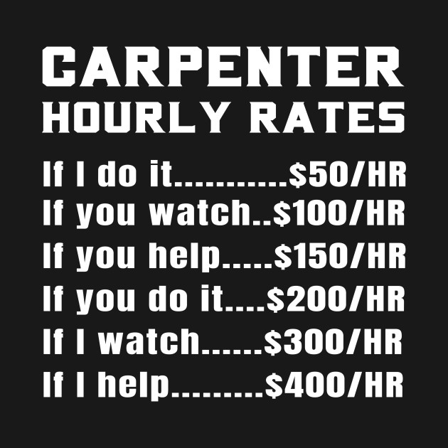 d51afb8988 ... Funny Carpenter Hourly Rates Price List Sarcastic Gift Idea