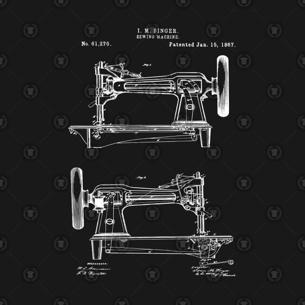 Vintage Singer Sewing Machine 1867 Patent Print