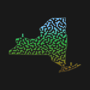 New York State Outline Maze & Labyrinth t-shirts