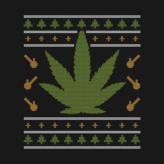 WEED UGLY CHRISTMAS SWEATER T-SHIRT