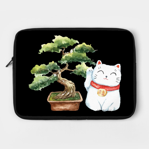 Watercolor Lucky Cat Maneki Neko With Bonsai Tree Lucky Cat Laptop Case Teepublic