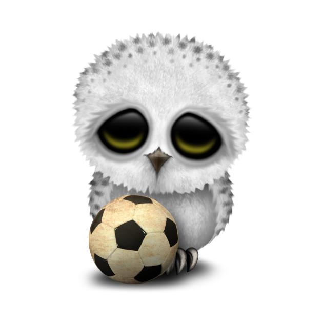 Cute Baby Owl With Football Soccer Ball