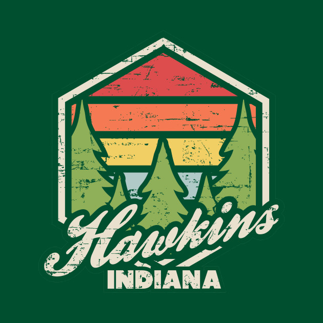Retro Badge Hawkins Indiana Dark