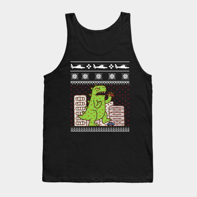 Godzilla Ugly Christmas Sweater Godzilla Tank Top Teepublic