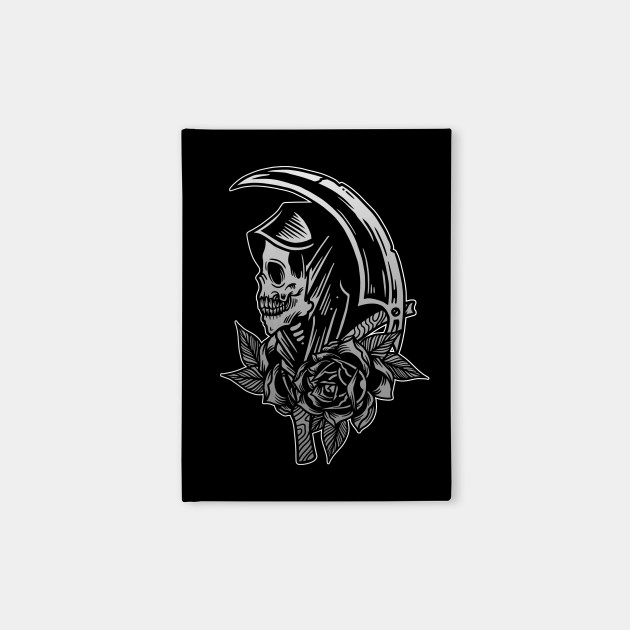 b99e7122e04bb Grim Reaper Scythe Death Skull With Roses Vintage Tattoo Flash