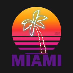 Fake Neon Summer Sunset Beach Palm Tree Proud Miami t-shirts