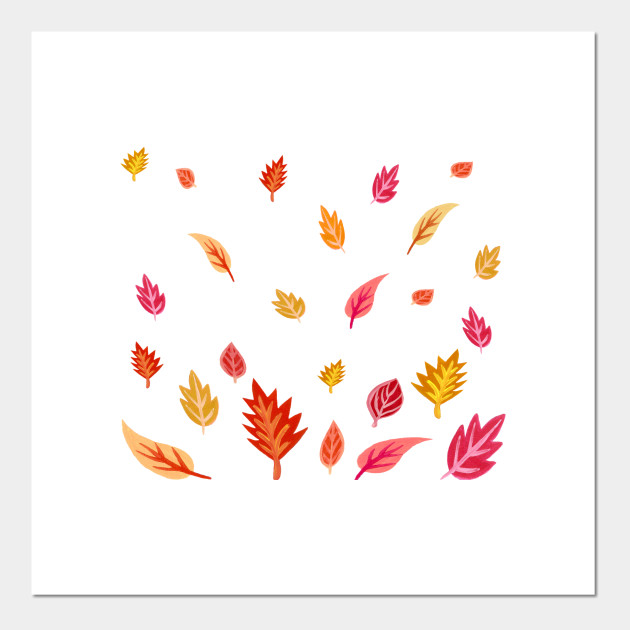 Fall Warm And Bright Leaves Pattern Fall Leaves Posters And Art Prints Teepublic