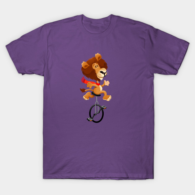 Funny lion on an unicycle