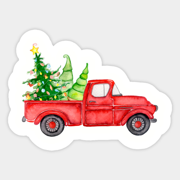 Vintage Red Truck Christmas Decor.Vintage Red Truck Farm Fresh Christmas Tree