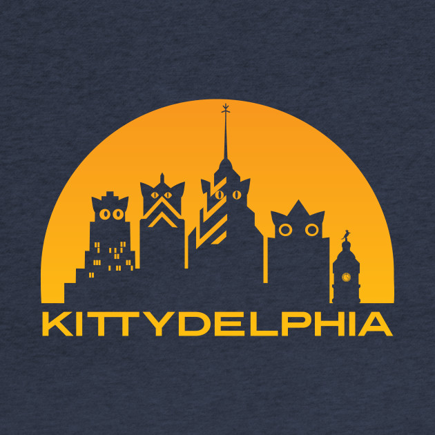 Kittydelphia logo - golden sunset