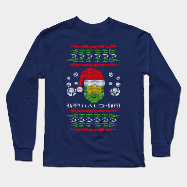 Halo Christmas Sweater.Happy Halo Days Ugly Christmas Sweater Design