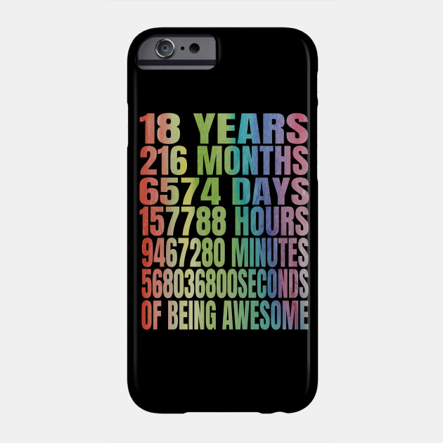 18 Years Old 18th B Day Rainbow Retro Gifts Phone Case