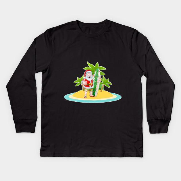 fa969b330c2 Santa Claus Surfing Hawaiian Shirt Summer Christma Kids Long Sleeve T-Shirt