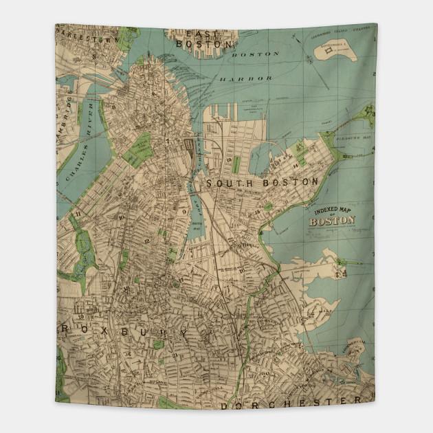 Vintage Map Of Boston Ma 1900 Boston Map Tapestry Teepublic Au