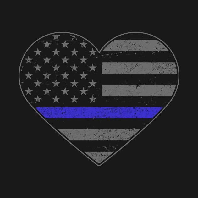American Flag Blue Line USA Crewnecks Law Enforcement Police Sweatshirts