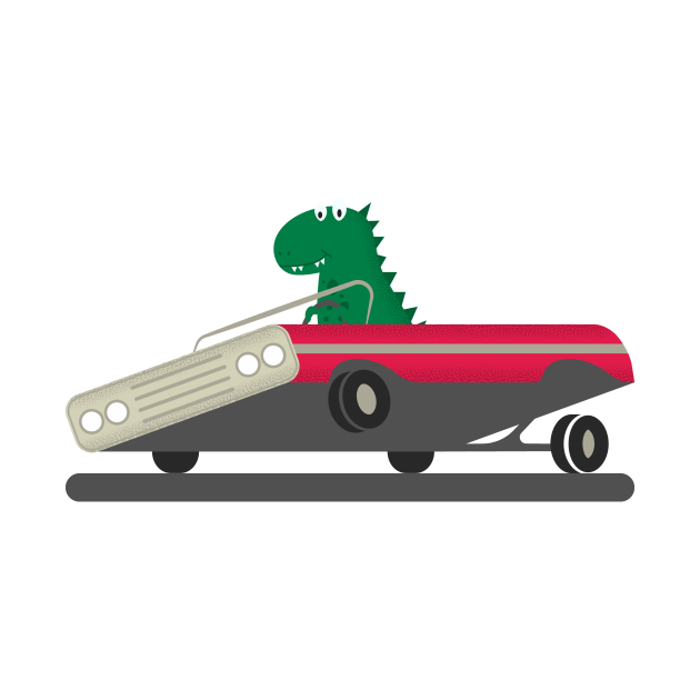 Dino rides in a lowrider
