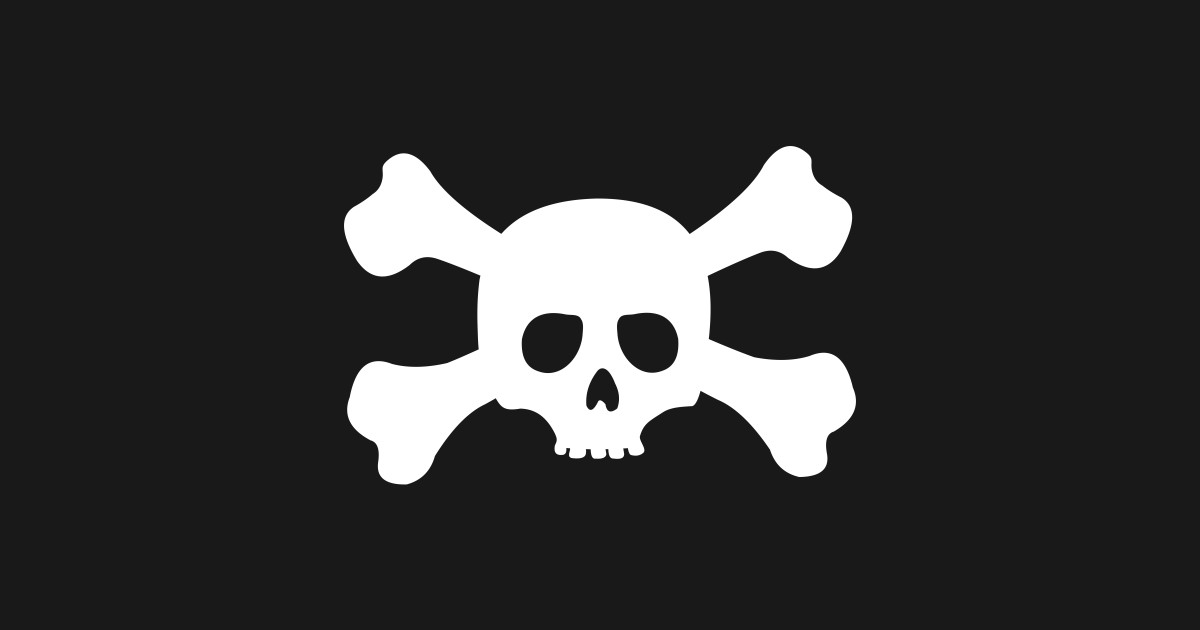Simple White Crossbones Skull Crossbones Sticker