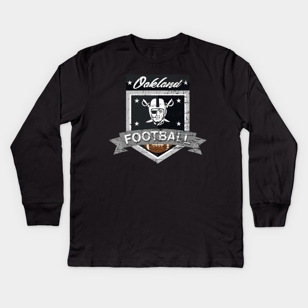 OAKLAND FOOTBALL - DISTRESSED DESIGN WITH A PIRATE RAIDER Kids Long Sleeve T -Shirt 98f5128c1