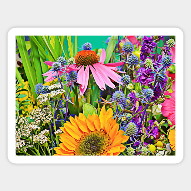 Summer Flower Bouquet Blooming Flowers Sticker Teepublic