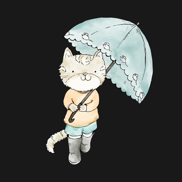 Cute anime cat with umbrella