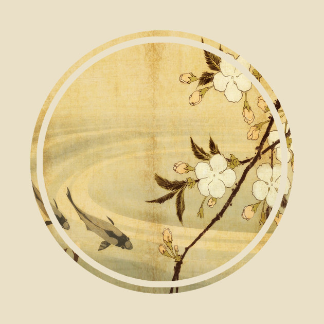 Old Japanese painting flowers and koi fish