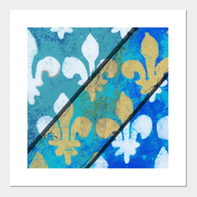 Vintage Fleur De Lys Blue