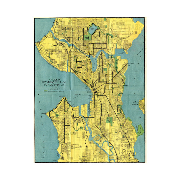 Vintage Map of Seattle Washington (1914) - Seattle Map - Tapestry ...