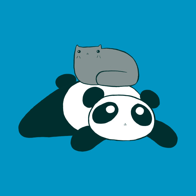 Panda and Gray Cat