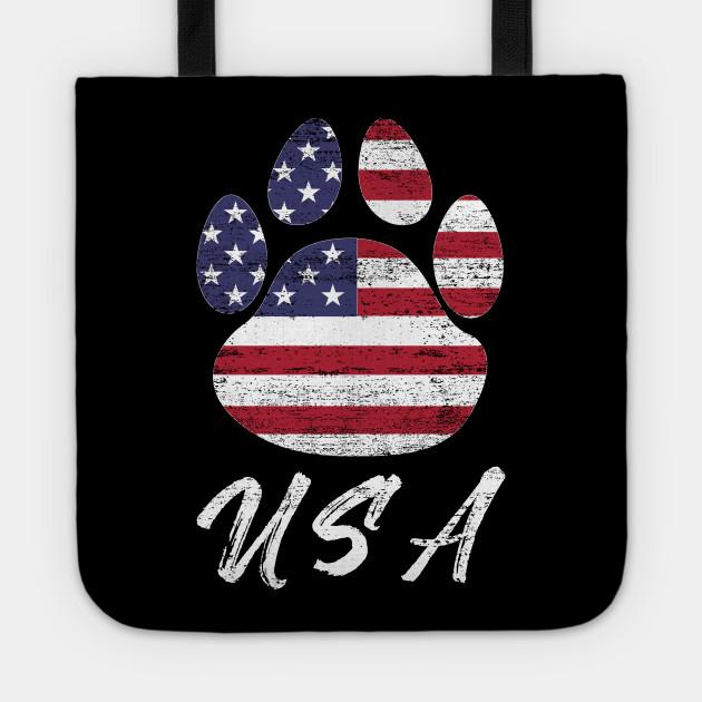 296d88b01 Dog paw print American flag USA tshirt - Paw Prints - Tote   TeePublic