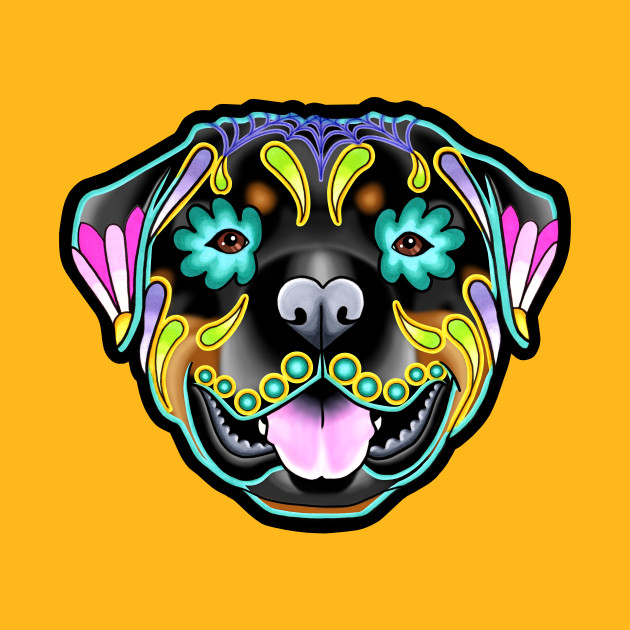 Rottweiler - Day of the Dead Sugar Skull Dog - Rottweiler - T-Shirt ...