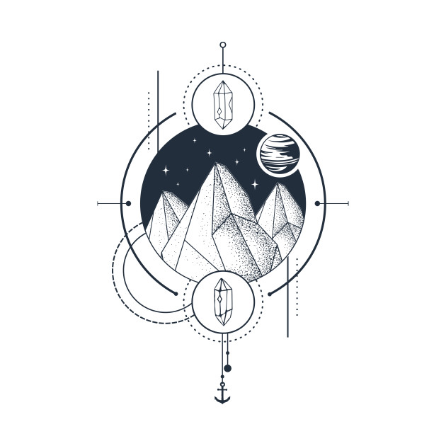 Creative Illustration In Geometric Style. Adventure, Nature, Travel, Mountains And Crystals