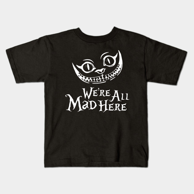We/'re All Mad Here Mad Hatter  Cat Black Crewneck Sweatshirt