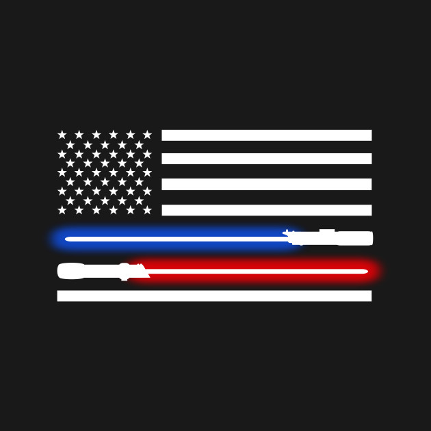 white lightsaber American flag