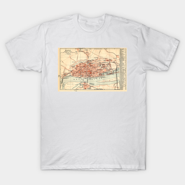 Vintage Map Of Mainz Germany 1905 Mainz Germany T Shirt