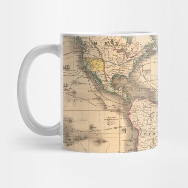 Vintage Map Of The World 1850 World Map Mug Teepublic