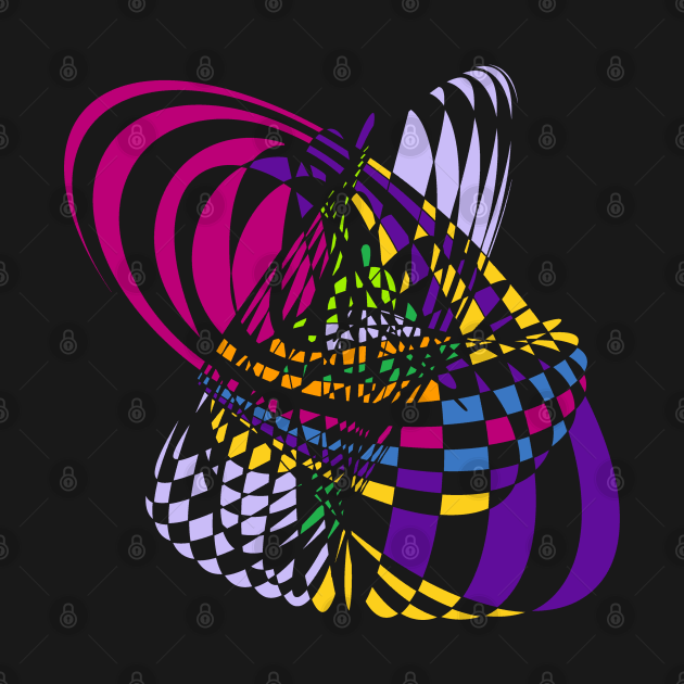Algorithmic Art Pendulum   Harmonic Motion Pattern Checkered Neon Pink Yellow Purple Black