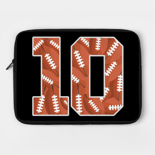 Birthday Kids Football 10 Tenth Ten 10th Years Age - Birthday - Laptop Case  | TeePublic