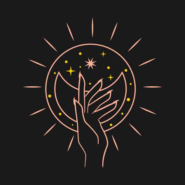 Aesthetic line art mystic hand moon and star