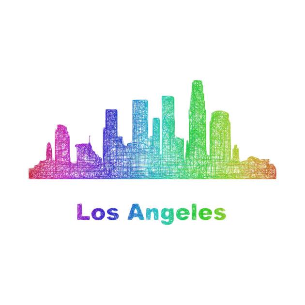 Rainbow Los Angeles Skyline T Shirt