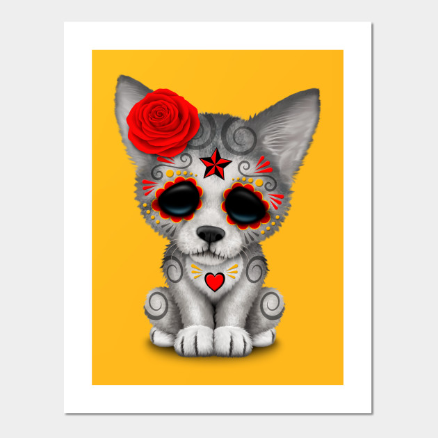 Red Day of the Dead Sugar Skull Wolf Cub - Day Of The Dead - Wall ...