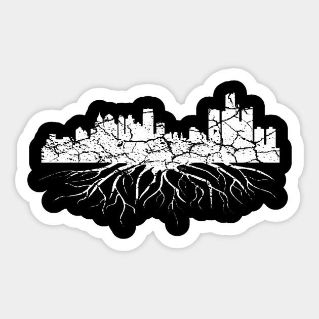 Smaller Cracked Detroit Skyline - Light
