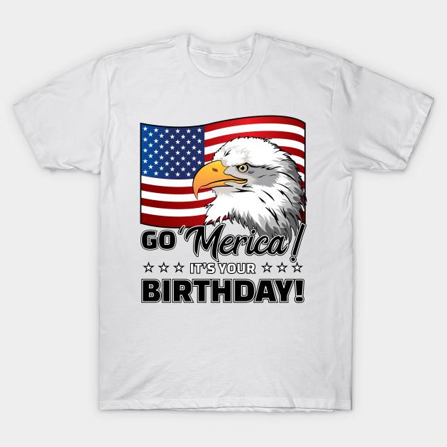 51256224 Merica Funny USA Flag American Eagle Birthday - Merica - T-Shirt ...