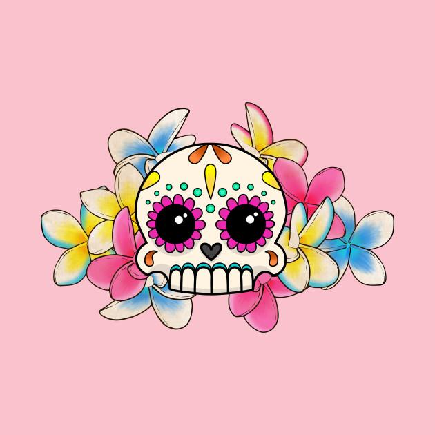 Calavera con Flores - Sugar Skull with Frangipani Flowers