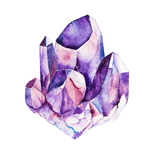 Watercolor Amethyst crystal