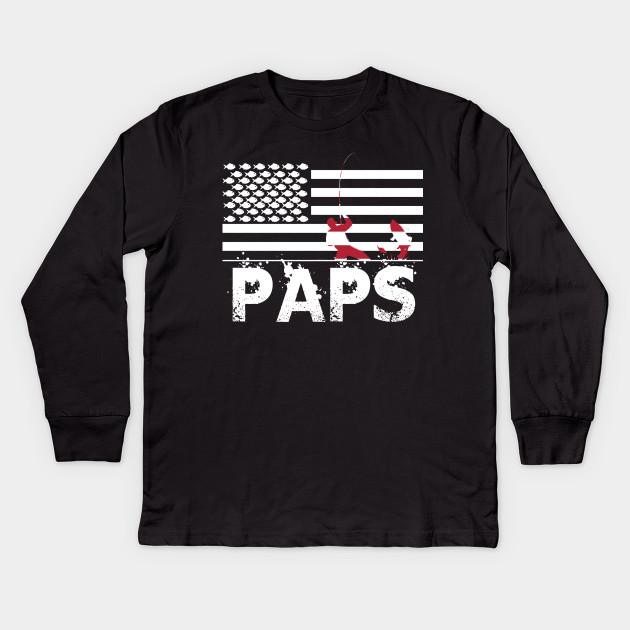 71f0b3108 Dad Fishing Shirt with Patriotic Flag - Fishing Dad Gifts_PAPS Kids Long  Sleeve T-Shirt