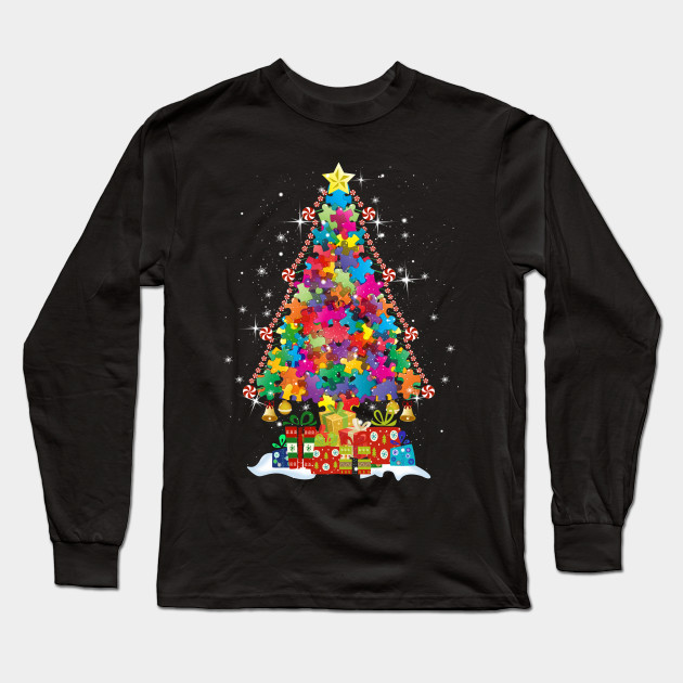 Autism Awareness Puzzle Shirts Christmas Tree Design Ideas Autism Long Sleeve T Shirt Teepublic