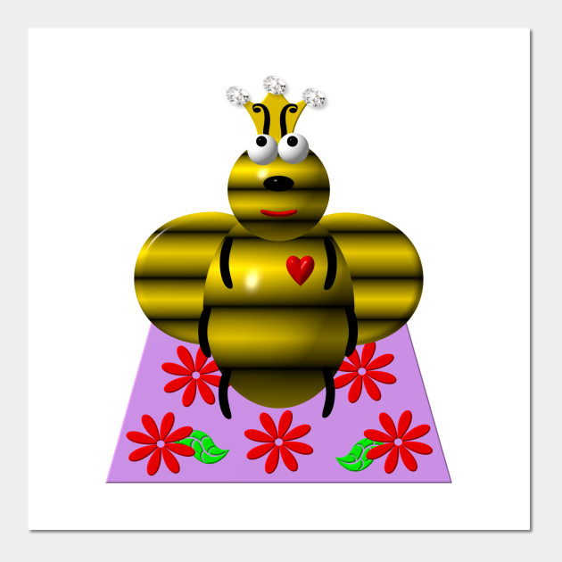 Cute Queen Bee on a Quilt - Cute Queen Bee On A Quilt - Wall Art ...